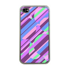 Pink, purple and green pattern Apple iPhone 4 Case (Clear)