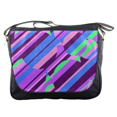 Pink, purple and green pattern Messenger Bags