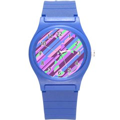 Pink, purple and green pattern Round Plastic Sport Watch (S)