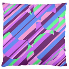 Pink, purple and green pattern Large Cushion Case (Two Sides)