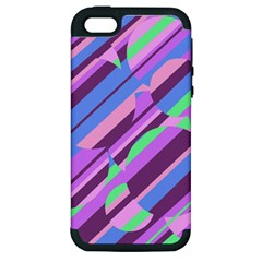 Pink, purple and green pattern Apple iPhone 5 Hardshell Case (PC+Silicone)