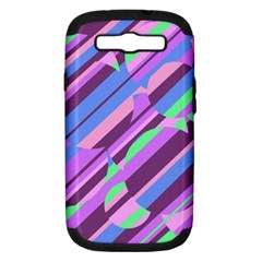 Pink, purple and green pattern Samsung Galaxy S III Hardshell Case (PC+Silicone)