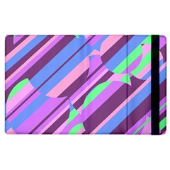 Pink, purple and green pattern Apple iPad 3/4 Flip Case