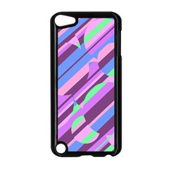 Pink, purple and green pattern Apple iPod Touch 5 Case (Black)