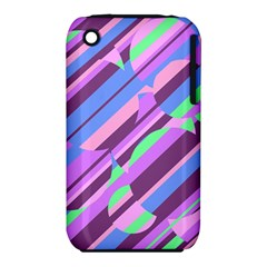 Pink, purple and green pattern Apple iPhone 3G/3GS Hardshell Case (PC+Silicone)