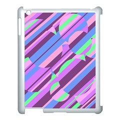 Pink, purple and green pattern Apple iPad 3/4 Case (White)