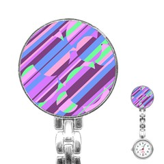 Pink, purple and green pattern Stainless Steel Nurses Watch