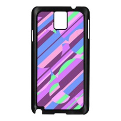 Pink, purple and green pattern Samsung Galaxy Note 3 N9005 Case (Black)