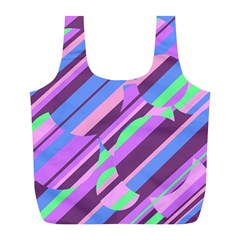Pink, purple and green pattern Full Print Recycle Bags (L)