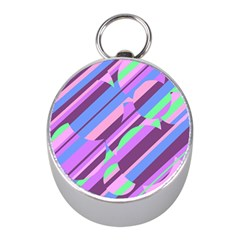 Pink, purple and green pattern Mini Silver Compasses