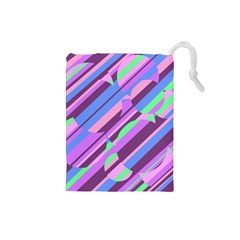 Pink, purple and green pattern Drawstring Pouches (Small)