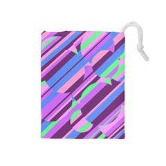 Pink, purple and green pattern Drawstring Pouches (Medium)