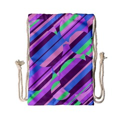 Pink, purple and green pattern Drawstring Bag (Small)
