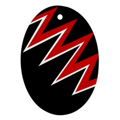 Black and red simple design Ornament (Oval)
