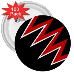 Black and red simple design 3  Buttons (100 pack)