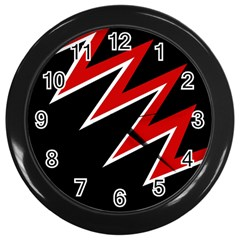 Black and red simple design Wall Clocks (Black)