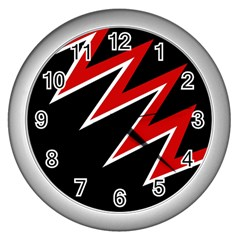 Black and red simple design Wall Clocks (Silver)