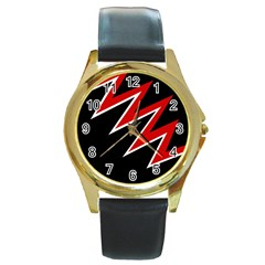 Black and red simple design Round Gold Metal Watch