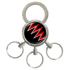 Black and red simple design 3-Ring Key Chains