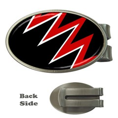Black and red simple design Money Clips (Oval)