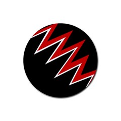 Black and red simple design Rubber Coaster (Round)