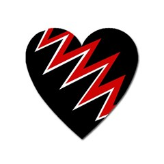 Black and red simple design Heart Magnet