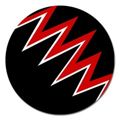Black and red simple design Magnet 5  (Round)