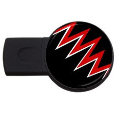 Black and red simple design USB Flash Drive Round (2 GB)