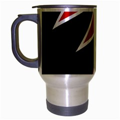 Black and red simple design Travel Mug (Silver Gray)