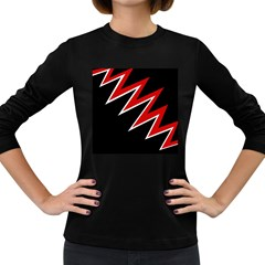 Black and red simple design Women s Long Sleeve Dark T-Shirts