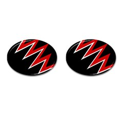 Black and red simple design Cufflinks (Oval)