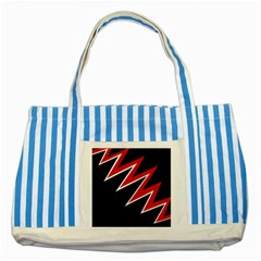 Black and red simple design Striped Blue Tote Bag