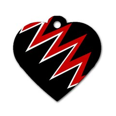 Black and red simple design Dog Tag Heart (Two Sides)