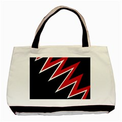 Black and red simple design Basic Tote Bag (Two Sides)