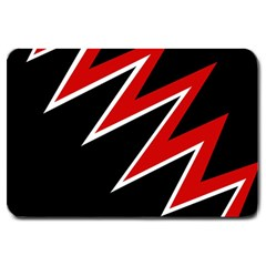 Black and red simple design Large Doormat