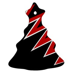 Black And Red Simple Design Christmas Tree Ornament (2 Sides)