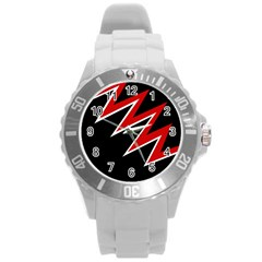 Black and red simple design Round Plastic Sport Watch (L)