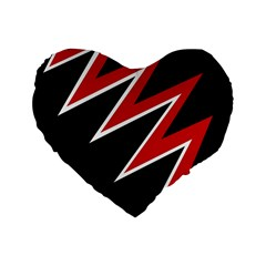 Black and red simple design Standard 16  Premium Heart Shape Cushions