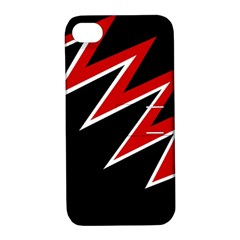 Black and red simple design Apple iPhone 4/4S Hardshell Case with Stand