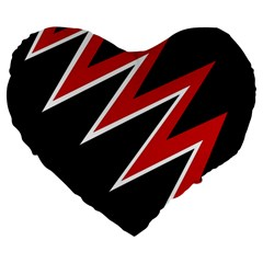 Black and red simple design Large 19  Premium Flano Heart Shape Cushions