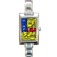 Yellow abstract pattern Rectangle Italian Charm Watch