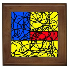 Yellow abstract pattern Framed Tiles