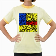 Yellow abstract pattern Women s Fitted Ringer T-Shirts