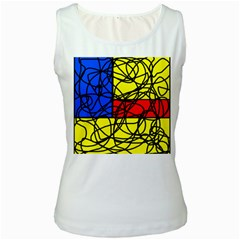 Yellow abstract pattern Women s White Tank Top