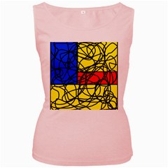 Yellow abstract pattern Women s Pink Tank Top