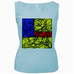 Yellow abstract pattern Women s Baby Blue Tank Top