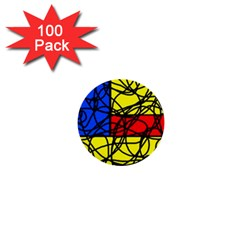 Yellow abstract pattern 1  Mini Buttons (100 pack)