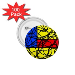 Yellow abstract pattern 1.75  Buttons (100 pack)