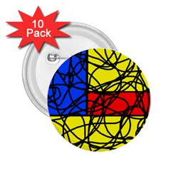 Yellow abstract pattern 2.25  Buttons (10 pack)