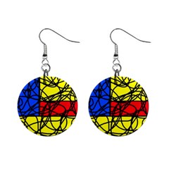 Yellow abstract pattern Mini Button Earrings